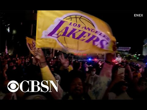 "Chants of ""Kobe"" ring out in Los Angeles after Lakers win NBA title"