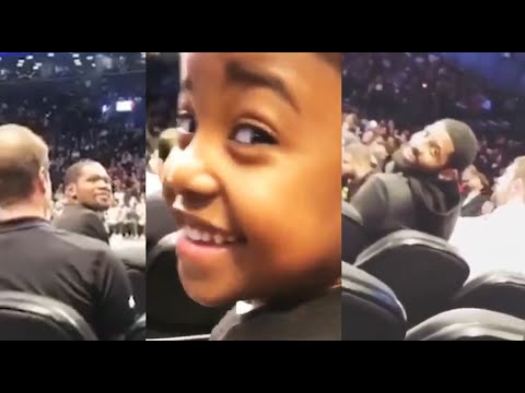 Kevin Durant SMILES Back!!! at little Cute Kidd (ALSO KYRIE)!!