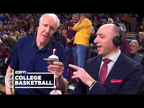 Bill Walton eats a cupcake with a lit candle, teases Dave Pasch & more | College Basketball