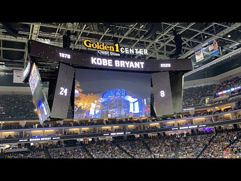 Lakers vs Sacramento tribute to Kobe Bryant, 1st away game fans chanting Kobe, full house