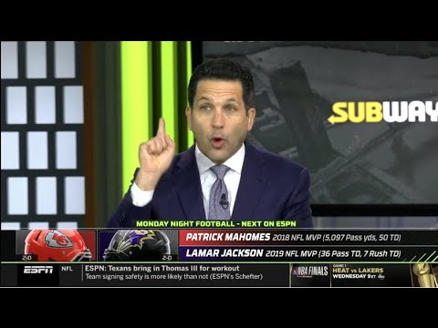 Monday Night Countdown | Adam Schefter on Chiefs at Ravens – Mahomes vs Lamar Jackson – Who will win
