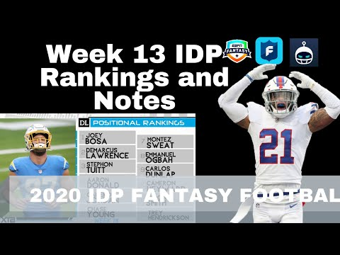 Week 13 IDP Rankings and Notes